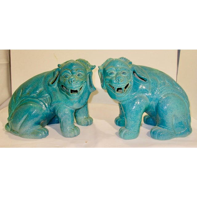 Chinese Porcelain Mythological Beasts in Robin's Egg Blue Glaze - a Pair For Sale - Image 9 of 9