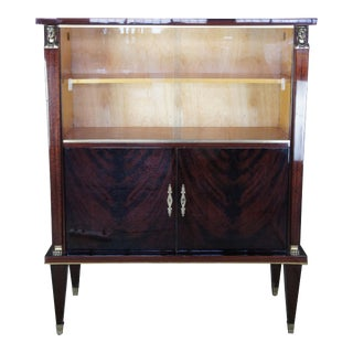 1930s Egyptian Revival Crotch Mahogany & Maple Bar Bookcase For Sale