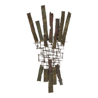 Mid-Century Brutalist Bowie Style Metal Wall Sculpture For Sale