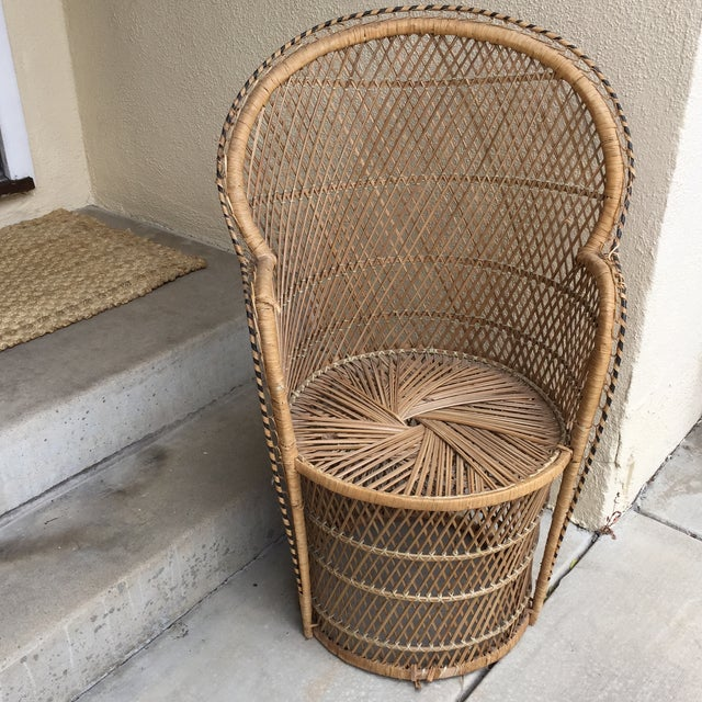 Vintage Boho Chic Wicker Chair - Image 2 of 10