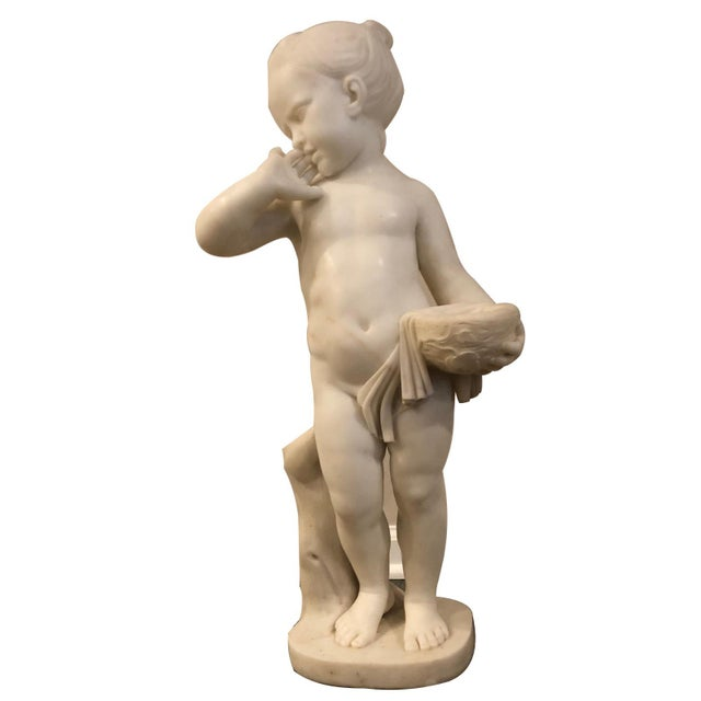 Stone Charles Antoine-Bridan Marble Child With Bird's Nest Sculpture For Sale - Image 7 of 7
