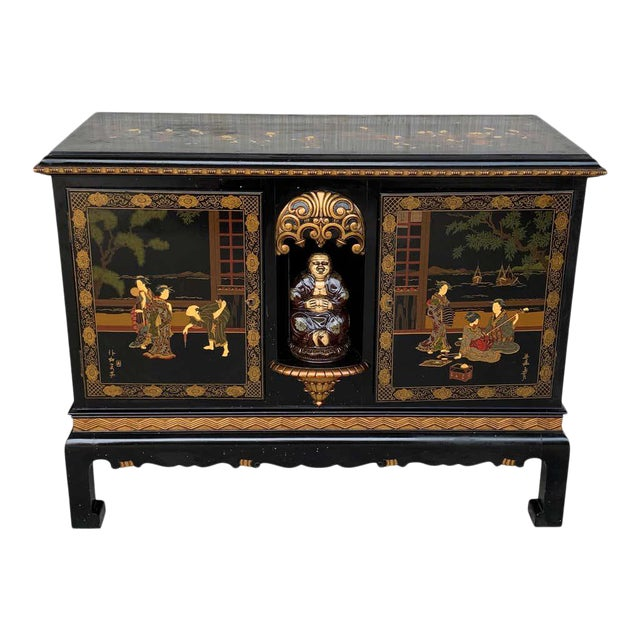 20th Black Lacquer and Hand Painted Open Altar Table or Sideboard For Sale