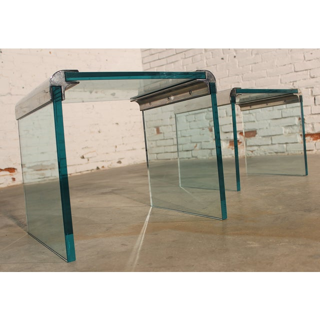 Pace Chrome & Glass Waterfall Side Tables - Pair - Image 6 of 10