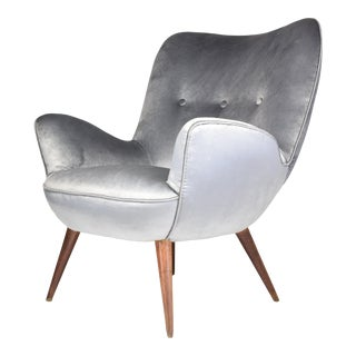 1940s Midcentury Franco Buzzi Grey Velvet Armchair For Sale