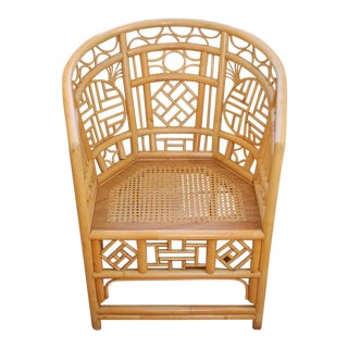 Vintage Mid Century Bamboo Rattan Pavilion Chinoiserie Palm Beach Chinese Chippendale Chair For Sale