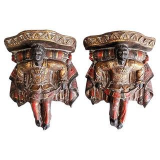 Venetian Polychrome Wall Brackets Shelves, a Pair For Sale