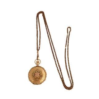 1890 Antique Waltham 14k Gold Hunter Case Pocket Watch & Chain For Sale