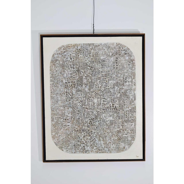 White Abstract Brutalist Style Textured Art on Masonite For Sale - Image 8 of 10