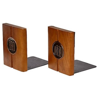 1960s Walnut Monogrammed Bookends - a Pair Preview