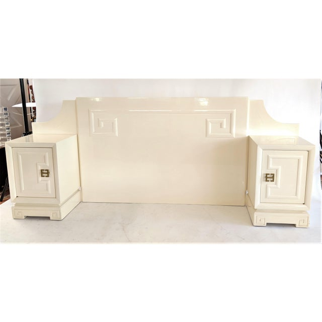Kittinger Customized Asian Lacquered Headboard with Nightstands - Image 2 of 11