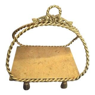 Vintage Hollywood Regency Braided Metal Gold Tassel Napkin Holder For Sale