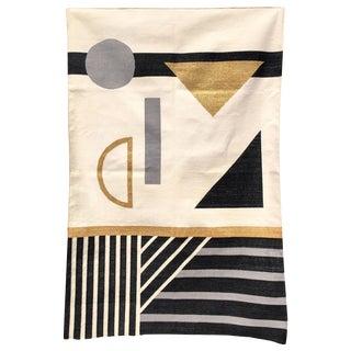 Geometric Valerie Handwoven Modern Black & White Cotton Rug, Carpet & Durrie - 6'x8' For Sale