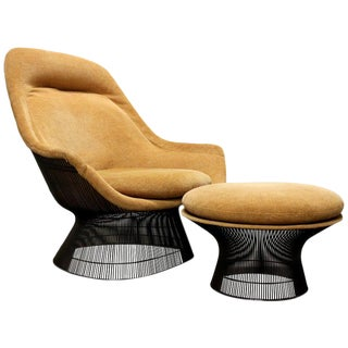 Warren Platner for Knoll Bronze Lounge Chair and Ottoman, Usa, 1960s-1970s For Sale
