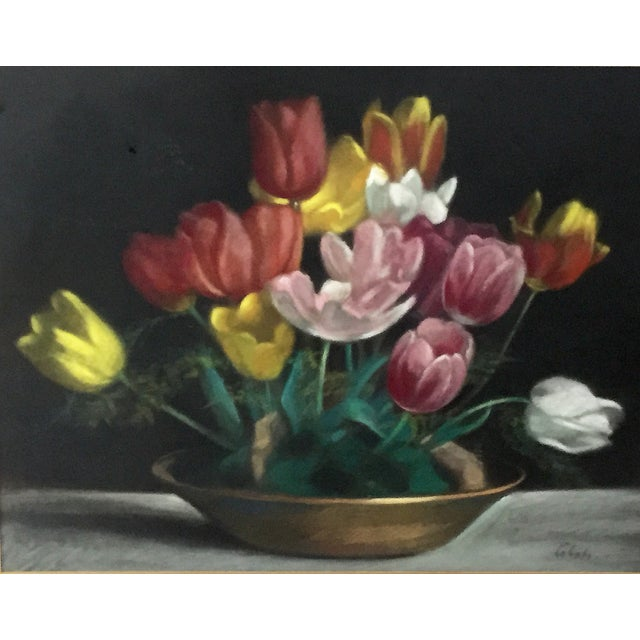 Contemporary Vintage Pastel Tulip Still Life For Sale - Image 3 of 9
