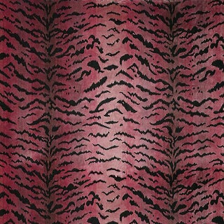 Sample, Scalamandre Tigre, Reds & Black Fabric For Sale