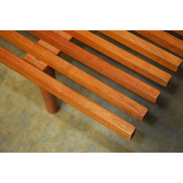 Wood Mid-Century Modern Low Slat Wood Bench Coffee Table For Sale - Image 7 of 9