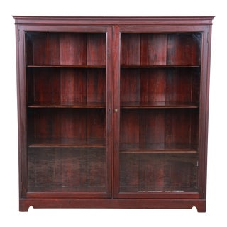 Antique Mahogany Glass Front Double Bookcase, Circa 1900 For Sale
