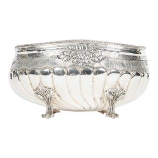 English Silver Plate Footed Wine Cooler For Sale