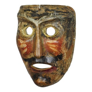 Antique Wooden Carved Tyrolian Carnival Fasnet Mask For Sale