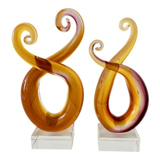 Modern Pair of Swirl Glass Sculptural Objects For Sale