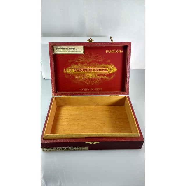 Red & Gold Sancho Panza Wood Cigar Boxes - Pair For Sale In Houston - Image 6 of 11