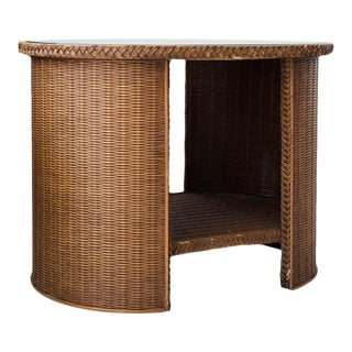 Pair of Wicker Glass Top Side Tables