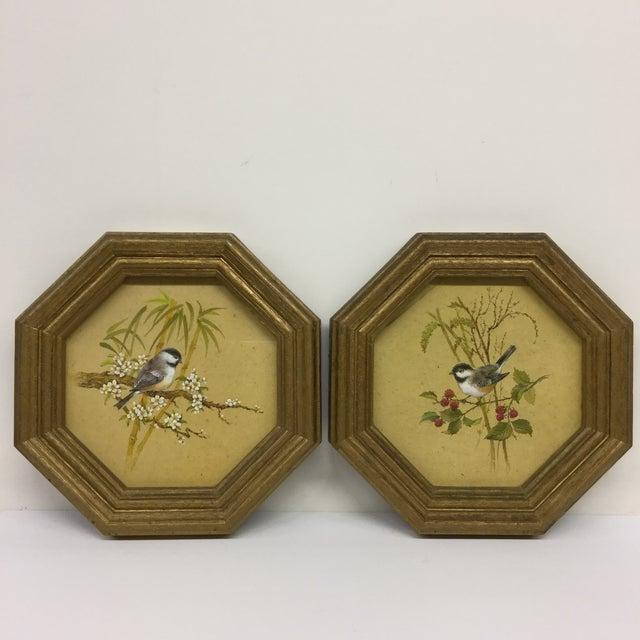 Mid-Century Modern Bird Prints Hexagon Framed - A Pair - Image 2 of 9