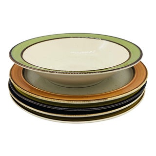 1970s Mismatched Rainbow Stoneware Dinner Plates and Serving Bowl - Set of 5 For Sale