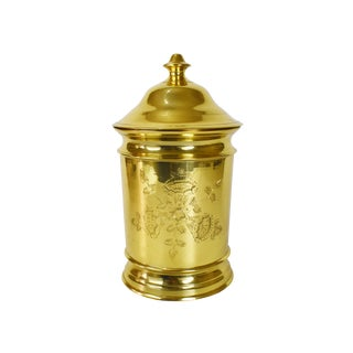 Vintage Solid Brass Floral Hand Etched Nora Fenton Apothecary Jar Canister For Sale