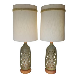 Mid-Century Modern Textured Ceramic Lamps - A Pair For Sale