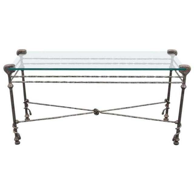Black Diego Giacometti style Mid-Century Hammered Iron Console Table For Sale - Image 8 of 8