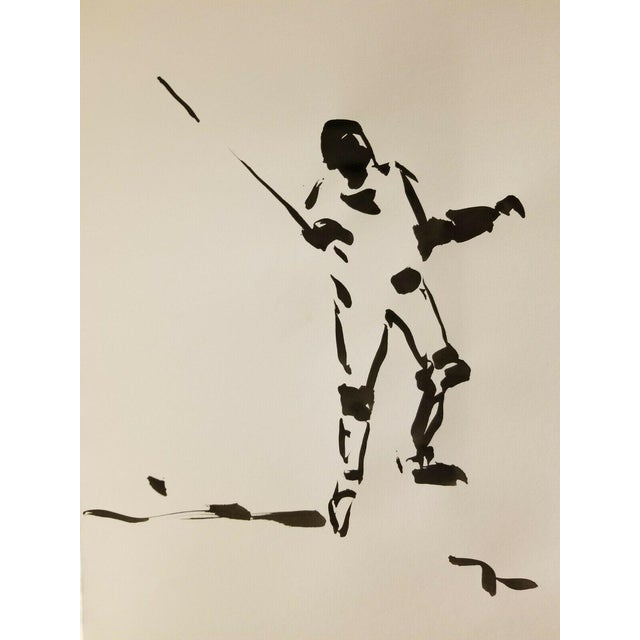 Impressionism Black Ink Wash on Paper Collectible Fencing Figure by Jose Trujillo For Sale