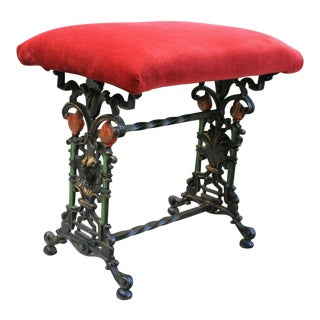 Antique English Foot Stool Bench Vanity Stool Cast Iron Red Upholstery Art Nouveau C. 1900 For Sale