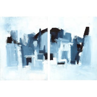 """Ilana Greenberg """"Hidden Landscape Diptych"""" Abstract Paintings - a Pair"""
