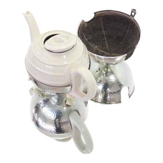 WMF Porcelain Tea Pot in Hammered Metal Insulated Cover For Sale