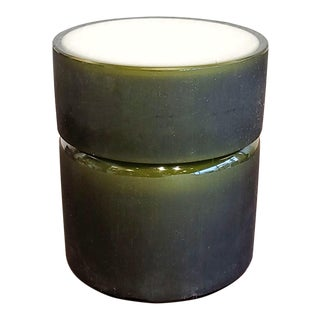 1960s Vistosi Frosted Olive Green and White Cased Glass Box (Murano) For Sale