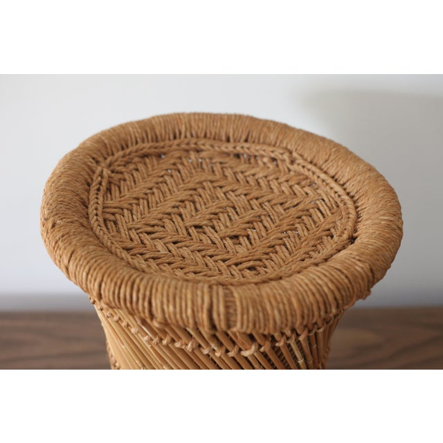Boho Rattan Side Table with Woven Rope - Image 3 of 5