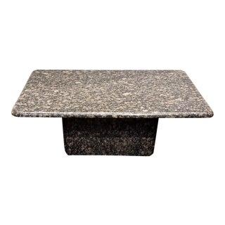 1980s Minimalist Geometric Italian Granite Coffee Table Black Tan Gray For Sale