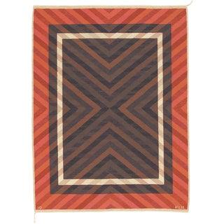 20th Century Swedish Flat Weave Rug- 5′11″ × 7′10″ For Sale