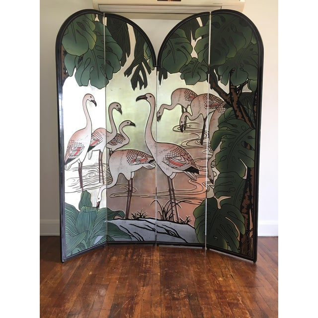 Vintage Japanese styled wood room divider with ornate carved detail. Black lacquer base, silver leafed/painted water scene...