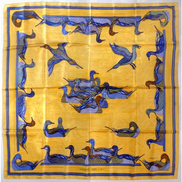 Blue 1981 Unused Hermès La Mare Aux Canards Scarf For Sale - Image 8 of 8