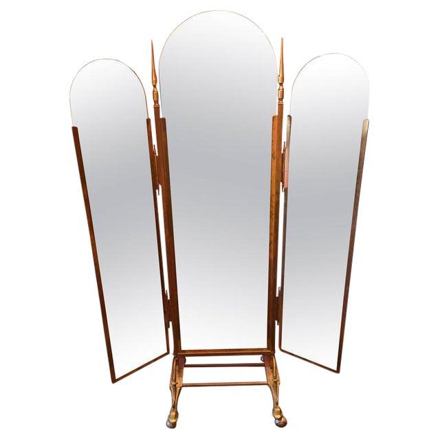 Vintage Italian Brass 3-Way Folding Floor Mirror | Chairish