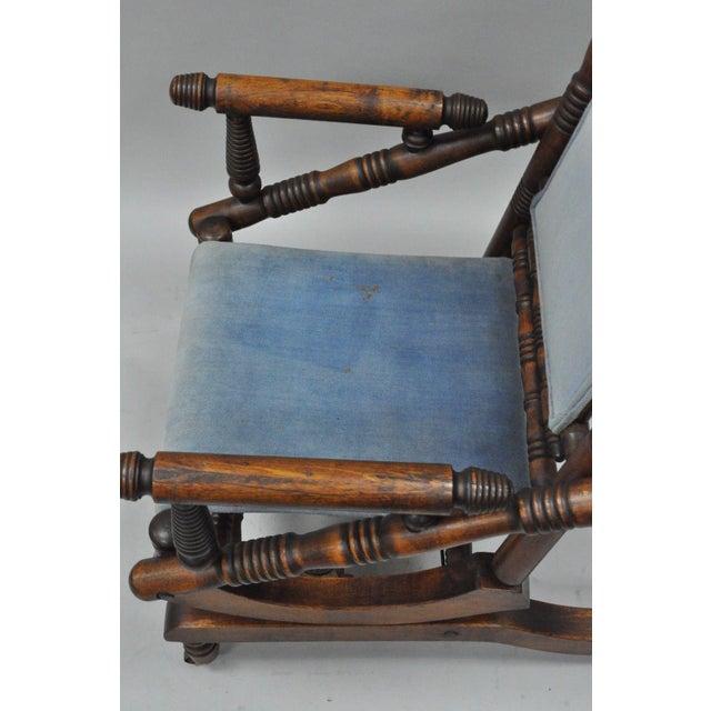 Antique Eastlake Victorian Turned Walnut Blue Platform Rocking Chair For Sale In Philadelphia - Image 6 of 11