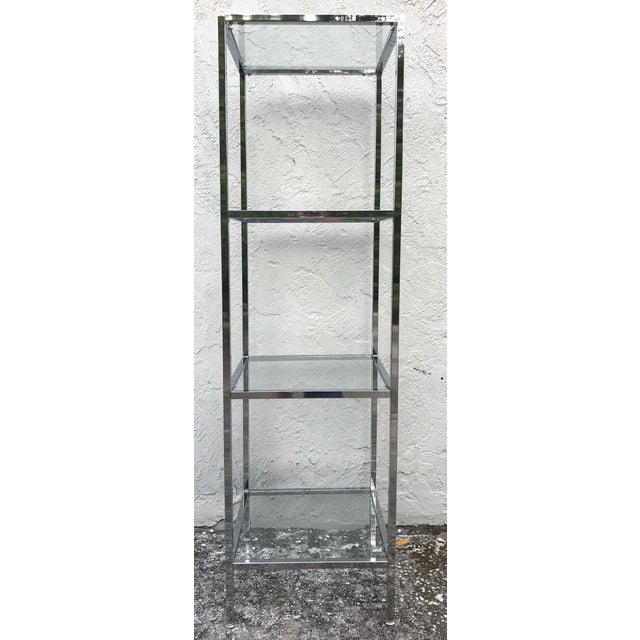 Mid 20th Century Milo Baughman Style Tall Chrome and Glass Column Étagère For Sale - Image 5 of 10