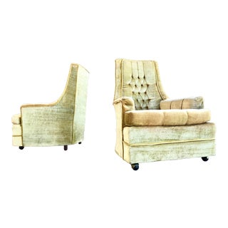 Vintage Hollywood Regency Gold Tufted Velvet High Back Lounge Chairs a Pair For Sale