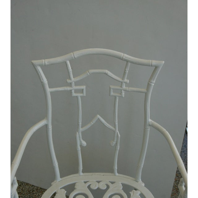 Faux Bamboo Cast Aluminum White Table and Chairs Five-Piece Patio Set For Sale - Image 9 of 10