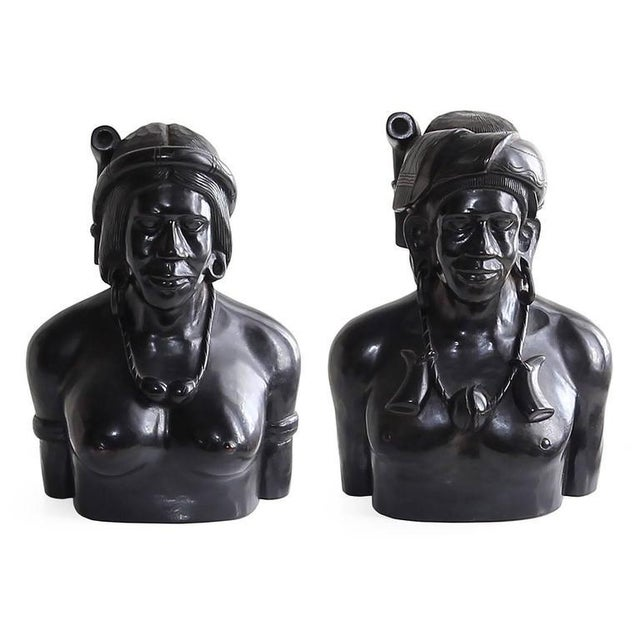 Hand-Carved Wood Bust Sculptures of Tribal Shaman Figures - A Pair For Sale - Image 9 of 11