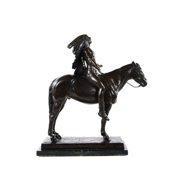 Gold Cyrus Dallin Appeal to the Great Spirit Native American Chief Bronze Sculpture For Sale - Image 8 of 9