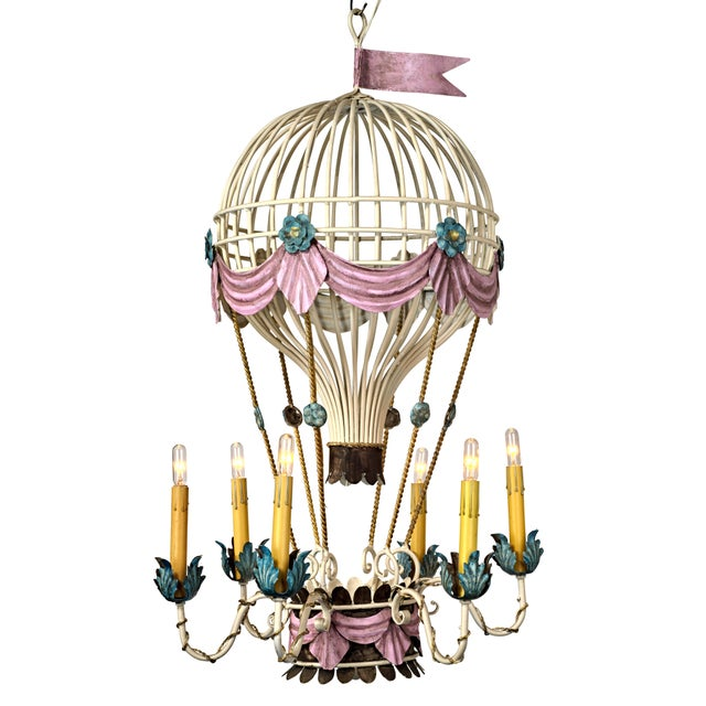 Incredibly Red Hot Air Balloon Chandelier Amazing Detail In The Painting And Restoration Work French Inspired