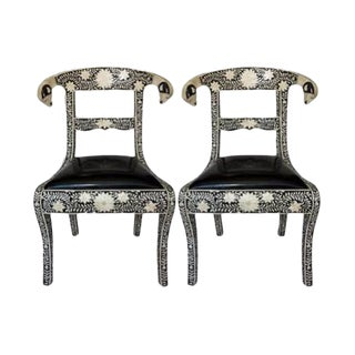Anglo-Indian Bone Inlay Side Chairs - A Pair